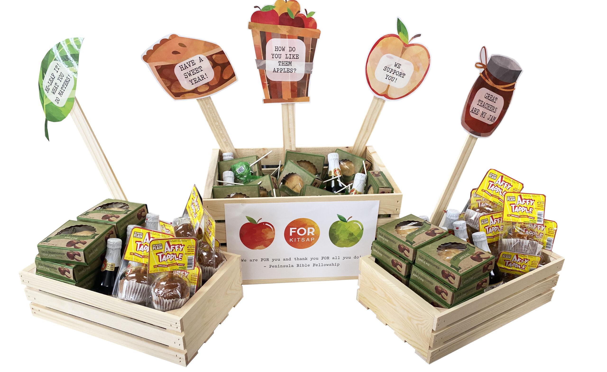 apple treats for teachers white background